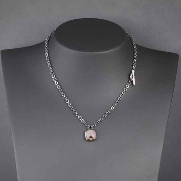 Collier argent quartz rose Pianegonda