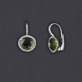 Boucles d'oreille péridot et diamants
