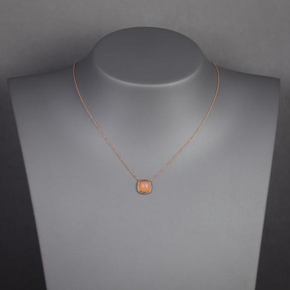 Collier pendentif pierre de lune orange