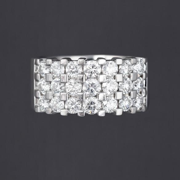 Bague trois rangées de diamants