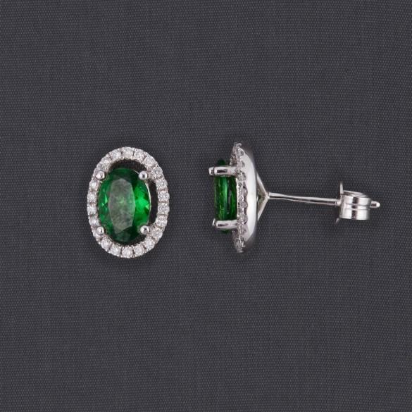Boucles d'oreille tsavorites et diamants