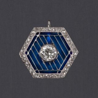 Pendentif hexagonal cristal bleu