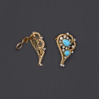 Boucles oreilles clips turquoises et diamants