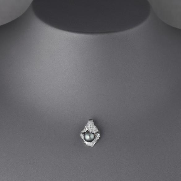 Pendentif perle de culture et diamants