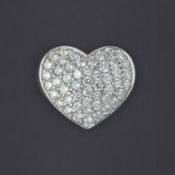 Bague en forme de coeur bombé